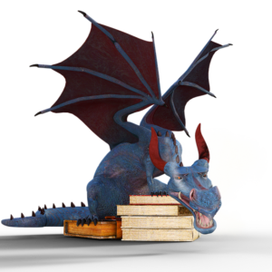 Dragon sitting on books