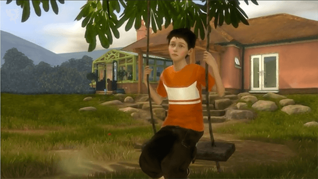 Milo, Mirosoft's virtual child is sitting on a home made swing on a tree branch. This is a still from the TED video shown at the end of the post.