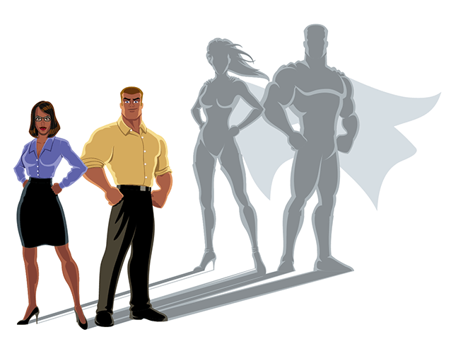 Two cartoon people, one woman, one man dressed in every day clothes positioned in a power stance. Their shadows appear larger behind them as super heroes wearing capes indicating they have inner superhero powers.